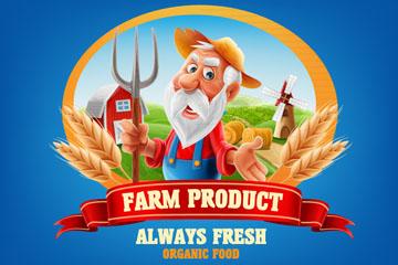 卡通农夫农产品标签矢量素材