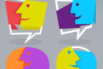 4款抽象脸型对话框矢量素材