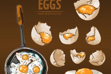 手绘烹饪鸡蛋料理矢量素材