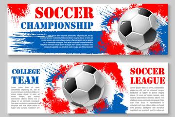 3款创意足球联赛banner矢量素材