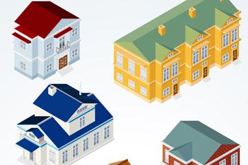 6款创意立体房屋设计矢量素材