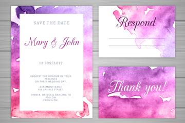3款紫色水彩绘婚礼邀请卡矢量图