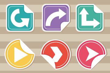 9款彩色掀开边角箭头贴纸矢量素材