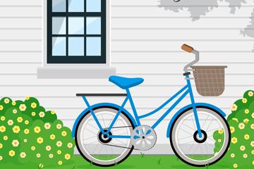 创意靠在窗边的单车矢量素材