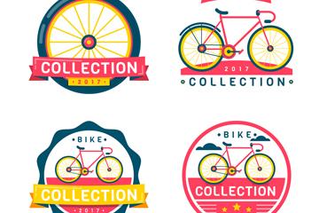4款创意自行车标志设计矢量素材