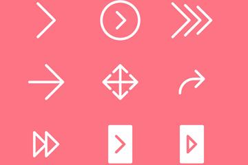 9款白色箭头图标矢量素材