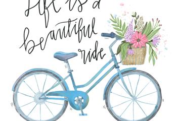 彩绘蓝色自行车隽语插画矢量素材
