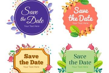 4款彩色花草装饰婚礼标签矢量图