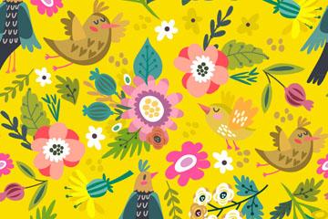 卡通春季花鸟无缝背景矢量素材