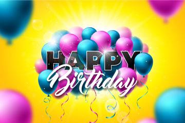 精美蓝色和紫色气球生日贺卡矢量