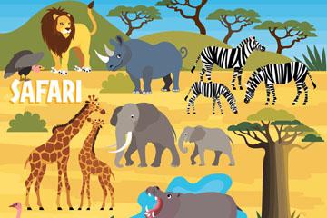 12款创意非洲野生动物矢量素材