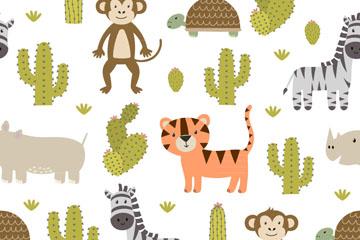 卡通动物和仙人掌无缝背景矢量图