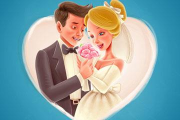 卡通婚礼新娘和新郎矢量素材