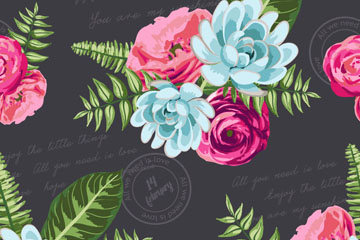 水彩绘花束无缝背景矢量素材