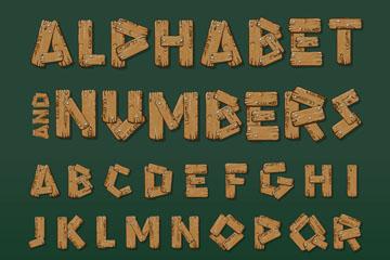 26个木制英文字母和10个数字矢量图