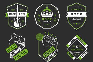 9款绿色摇滚音乐节标签矢量素材