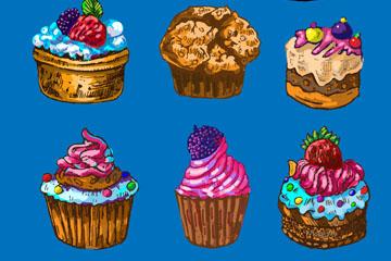 7款彩绘纸杯蛋糕设计矢量素材