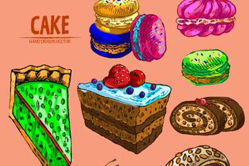 8款彩绘美味蛋糕矢量素材