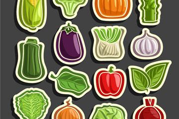 15款彩色蔬菜贴纸矢量素材