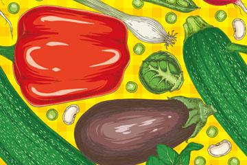 彩色蔬菜无缝背景设计矢量素材