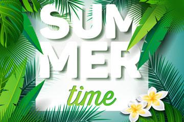夏季热带棕榈树叶框架矢量素材