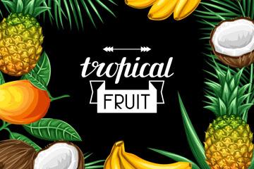 彩绘热带水果框架设计矢量素材