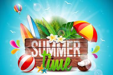 创意夏季时光沙滩木牌矢量素材