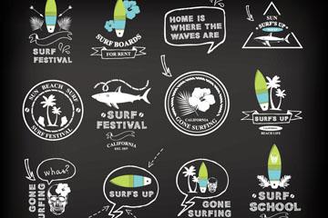 16款创意冲浪元素标志矢量素材