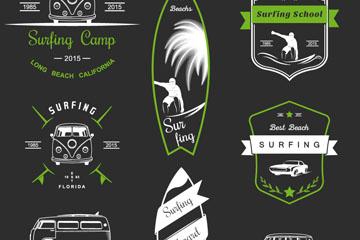 8款创意冲浪学校标志矢量素材