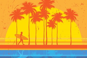 创意海边拿冲浪板的男子剪影矢量