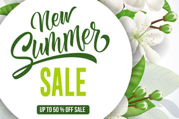 白色梨花夏季促销海报矢量素材