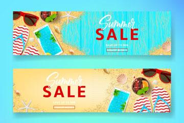 3款夏季沙滩元素促销banner矢量素材