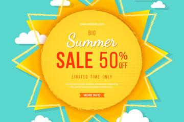 创意夏季太阳促销海报矢量素材