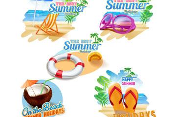 5款彩色夏季沙滩度假标签矢量素