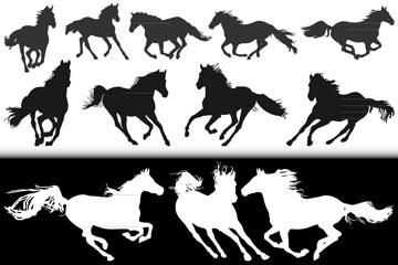 18款创意奔跑骏马剪影矢量素材