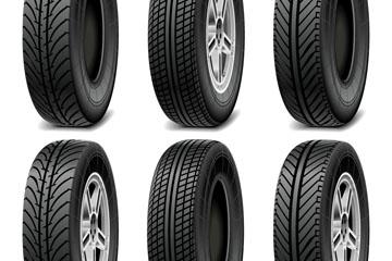 6款黑色轮胎设计矢量素材