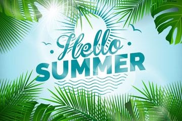 创意你好夏季棕榈树叶框架设计矢量素材