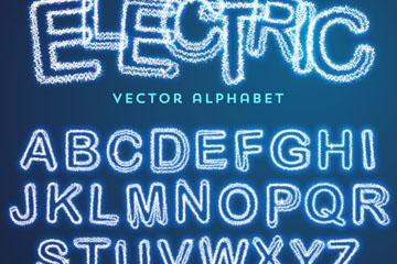 26个发光字母和10个数字矢量素材