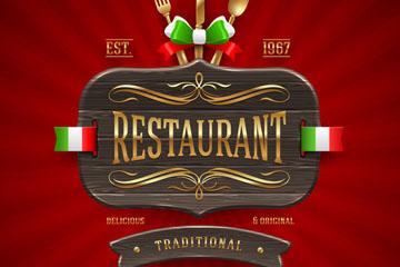 精美意大利餐厅菜单封面设计矢量图