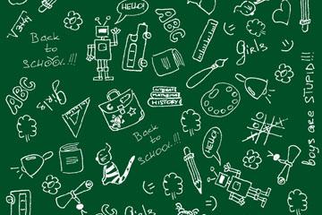 手绘校园元素无缝背景矢量素材