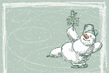 手绘滑冰的雪人矢量素材