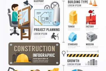 卡通建筑元素信息图设计矢量素材
