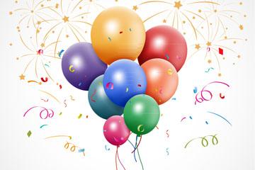 彩色节日庆祝气球束矢量素材