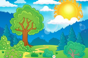 卡通夏季郊外自然风景矢量素材