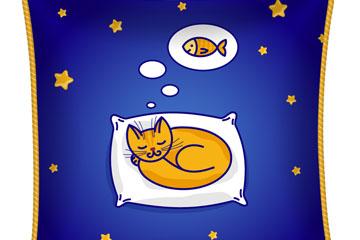 卡通睡眠猫咪坐垫设计矢量图