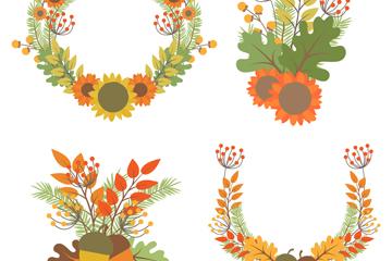 4款彩色秋季花束和花环矢量图