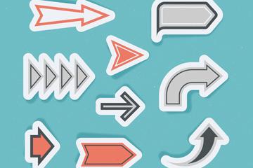9款创意箭头贴纸矢量素材
