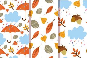 3款创意秋季无缝背景矢量素材