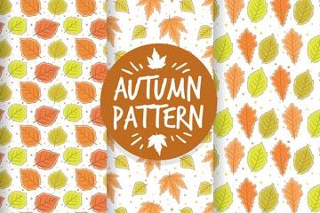 3款手绘秋季落叶无缝背景矢量图