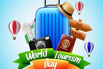 精美世界旅游日行李箱矢量素材